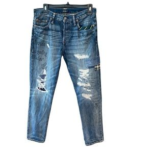 Ralph Lauren - Polo 26 Blue Jean The Avery Boyfriend Distressed Button Fly Jeans
